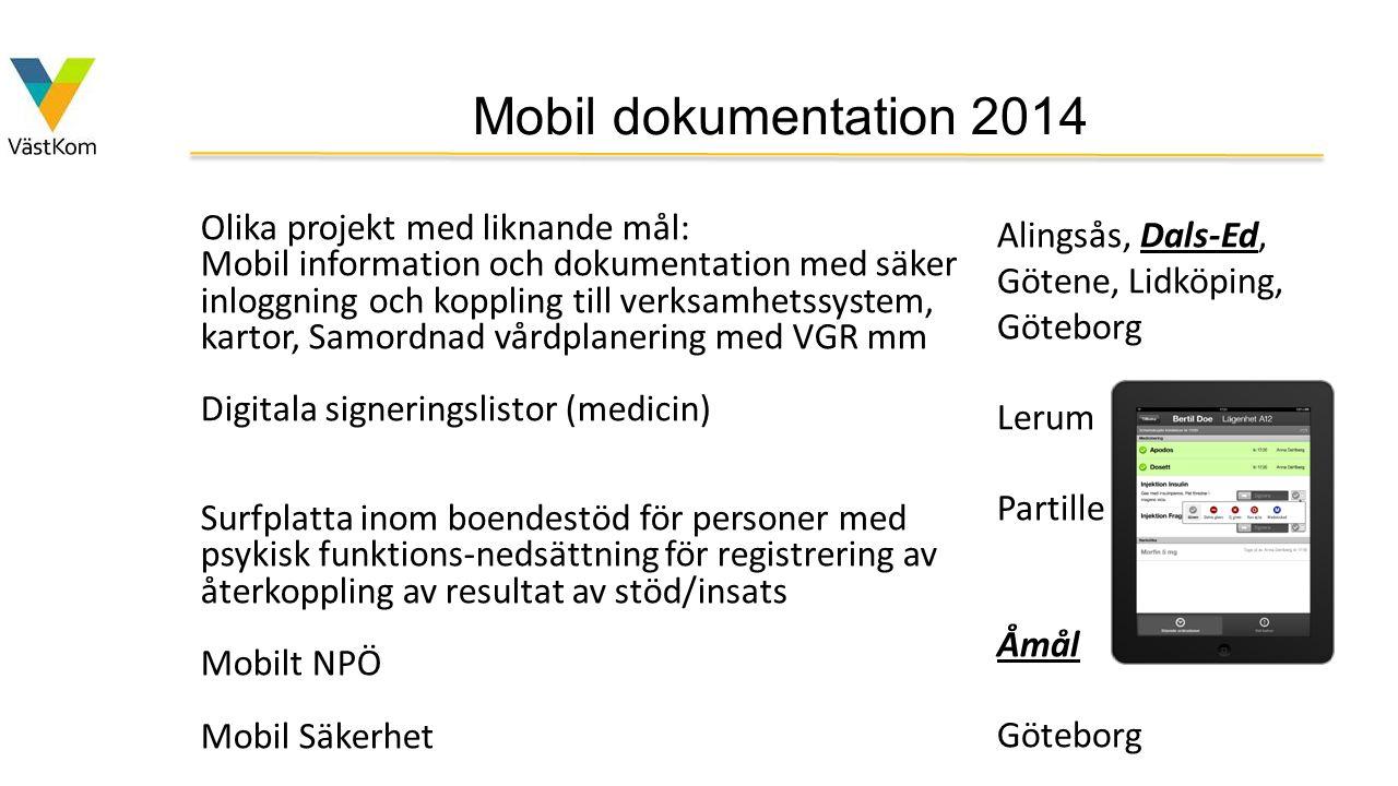 Mobil dokumentation 2014 Olika projekt med liknande mål: