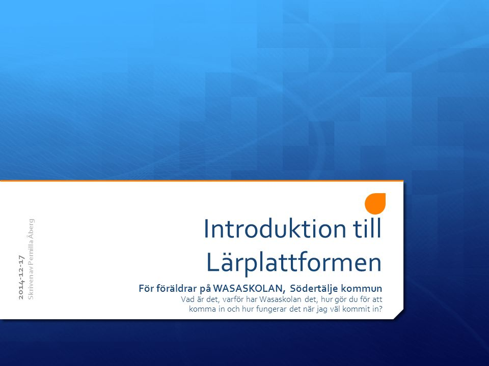 Introduktion till Lärplattformen