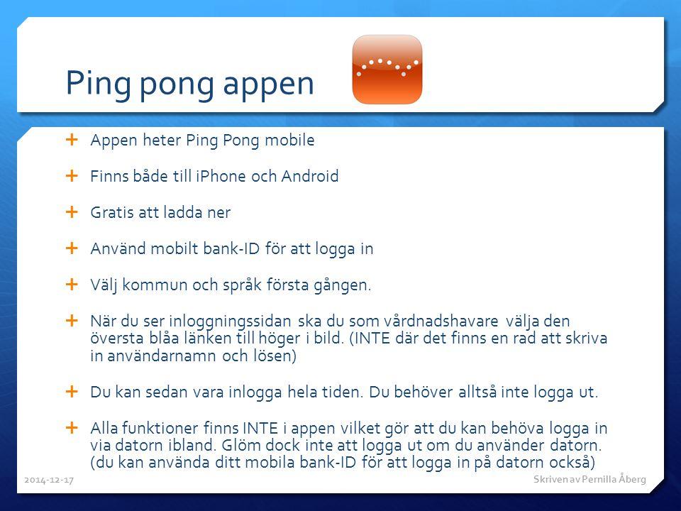 Ping pong appen Appen heter Ping Pong mobile