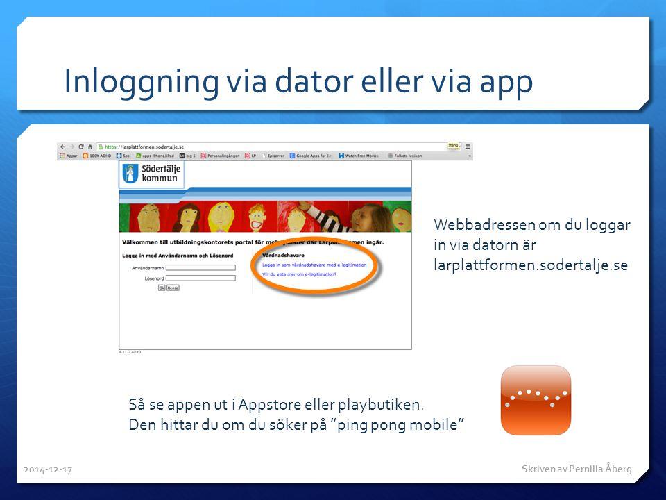Inloggning via dator eller via app