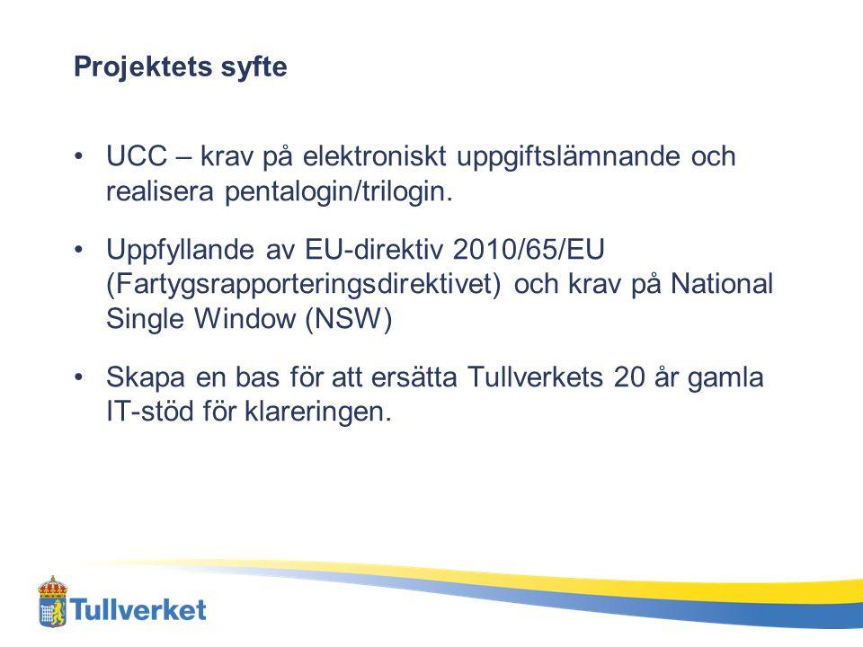 Projektets syfte UCC – krav på elektroniskt uppgiftslämnande och realisera pentalogin/trilogin.