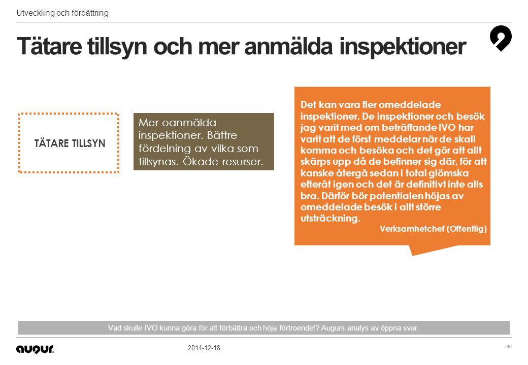 Tätare tillsyn och mer anmälda inspektioner