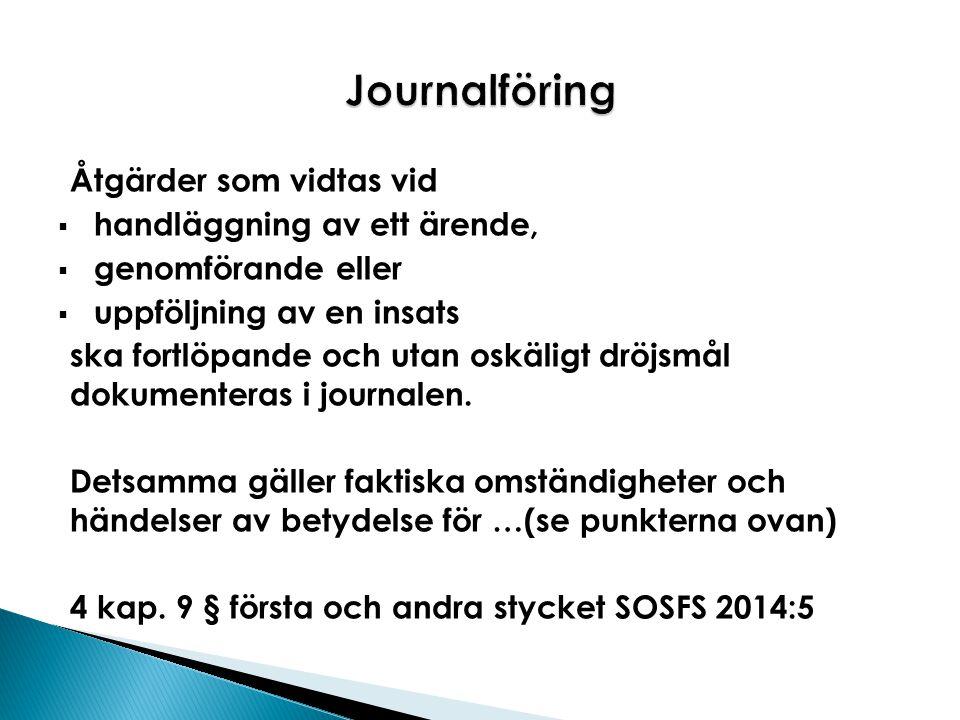 Journalföring Åtgärder som vidtas vid handläggning av ett ärende,