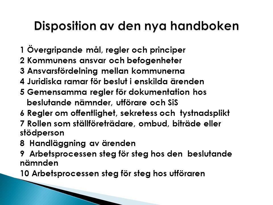Disposition av den nya handboken