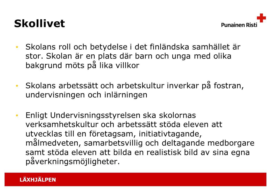 Skollivet Skolans roll och betydelse i det finländska samhället är stor. Skolan är en plats där barn och unga med olika bakgrund möts på lika villkor.