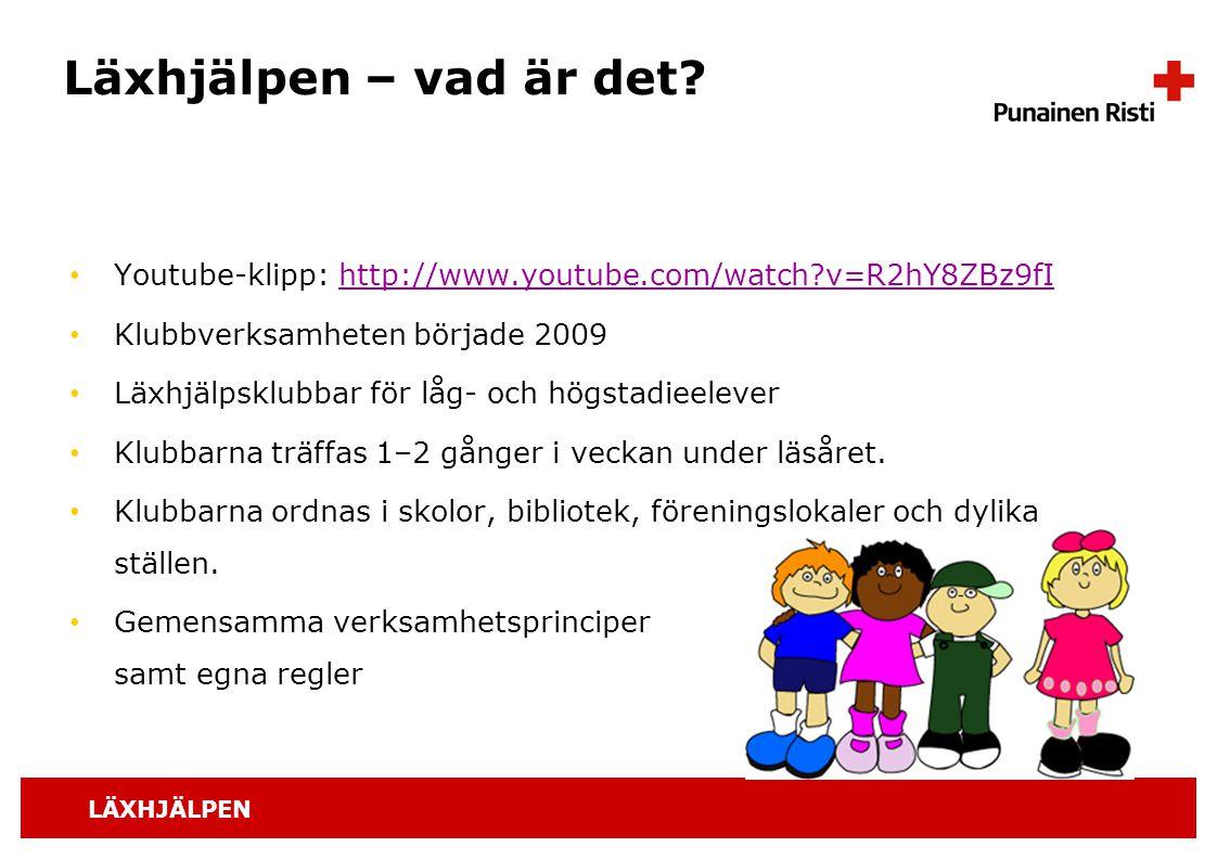 Läxhjälpen – vad är det Youtube-klipp: http://www.youtube.com/watch v=R2hY8ZBz9fI. Klubbverksamheten började 2009.