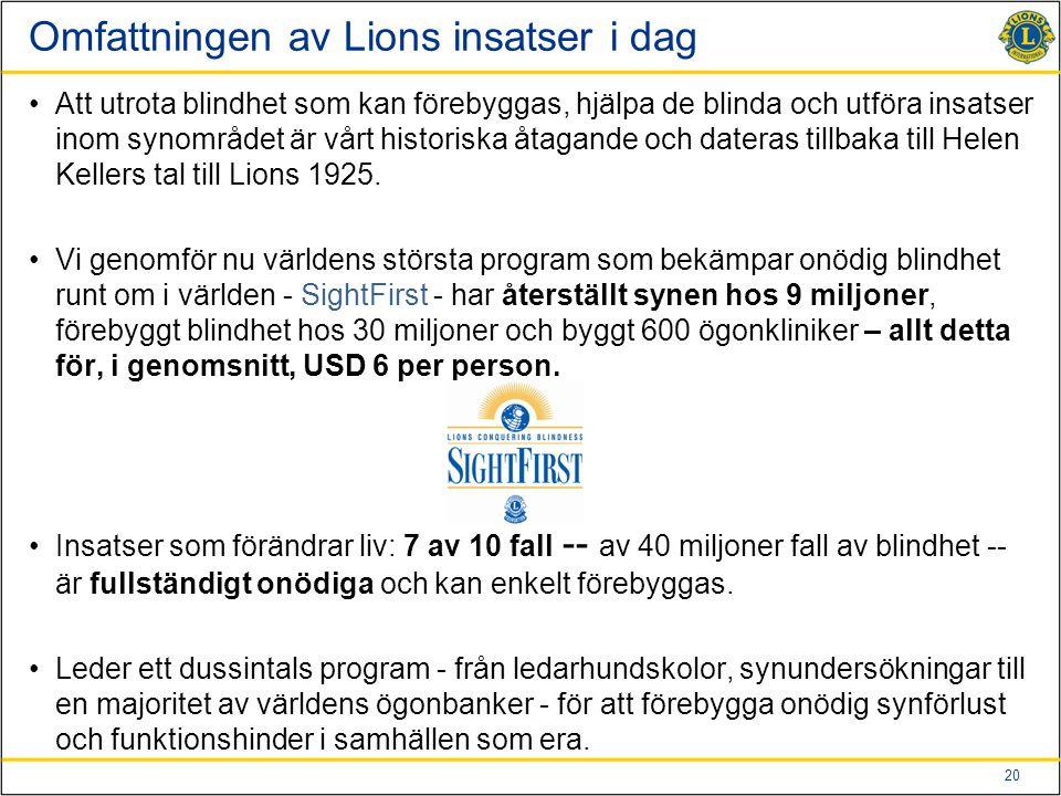 Omfattningen av Lions insatser i dag