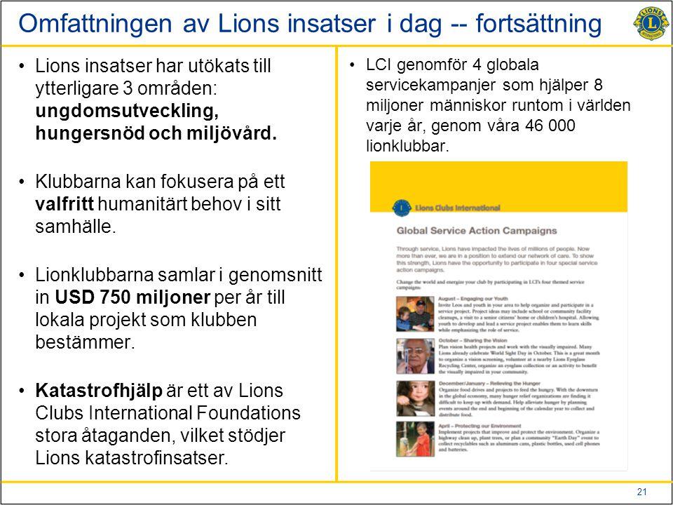 Omfattningen av Lions insatser i dag -- fortsättning