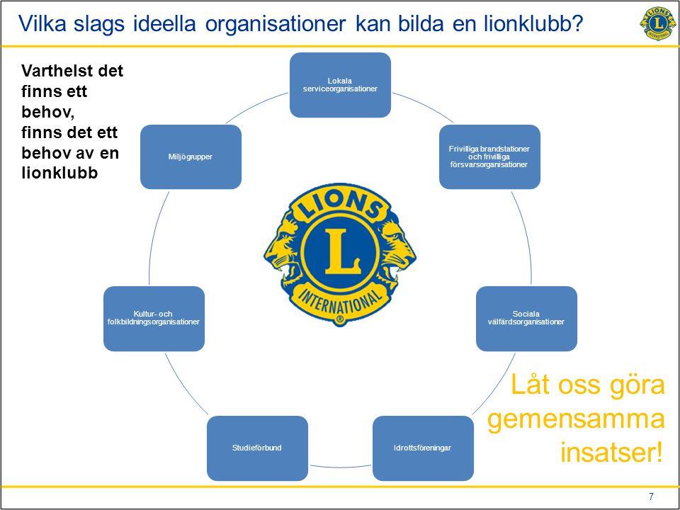 Vilka slags ideella organisationer kan bilda en lionklubb