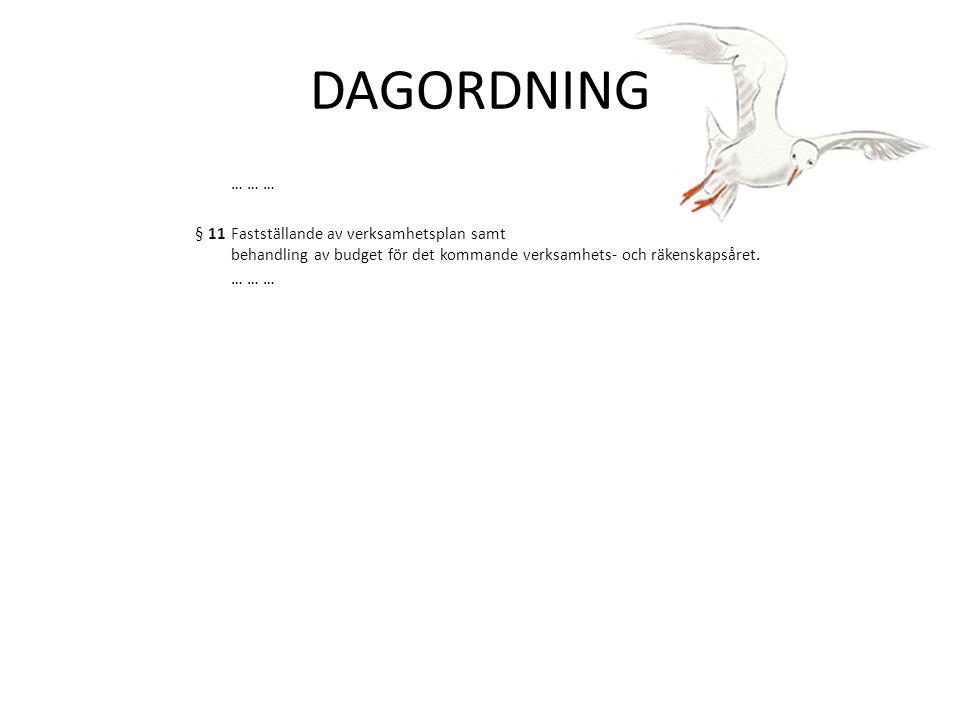 DAGORDNING … … … § 11 Fastställande av verksamhetsplan samt behandling av budget för det kommande verksamhets‐ och räkenskapsåret.