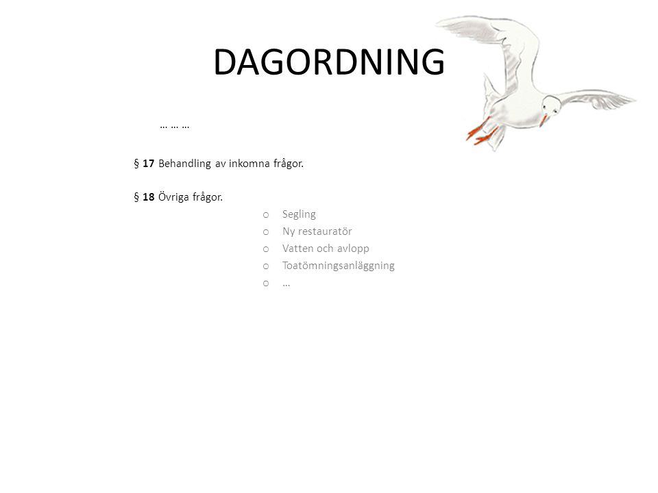 DAGORDNING … … … § 17 Behandling av inkomna frågor.
