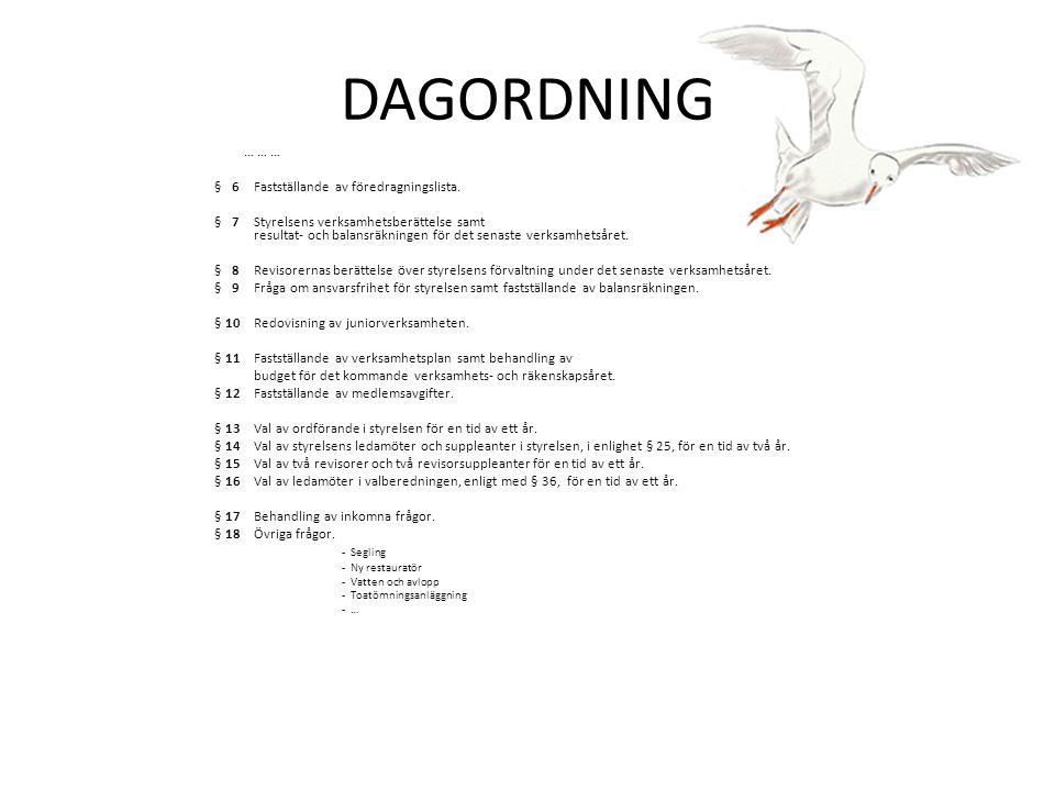 DAGORDNING … … … § 6 Fastställande av föredragningslista.