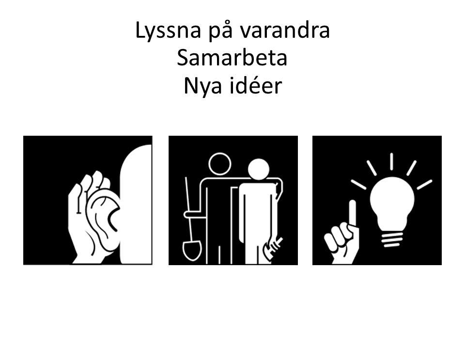Lyssna på varandra Samarbeta Nya idéer