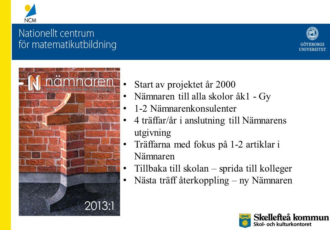 Start av projektet år 2000 Nämnaren till alla skolor åk1 - Gy. 1-2 Nämnarenkonsulenter. 4 träffar/år i anslutning till Nämnarens utgivning.