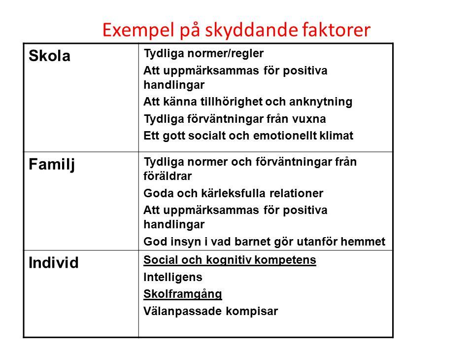 Exempel på skyddande faktorer