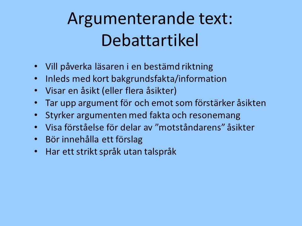 Argumenterande text: Debattartikel