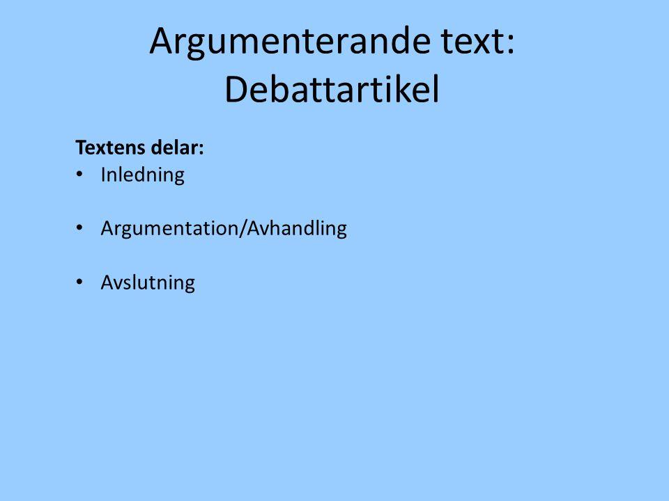 Argumenterande text: Debattartikel Textens delar: Inledning