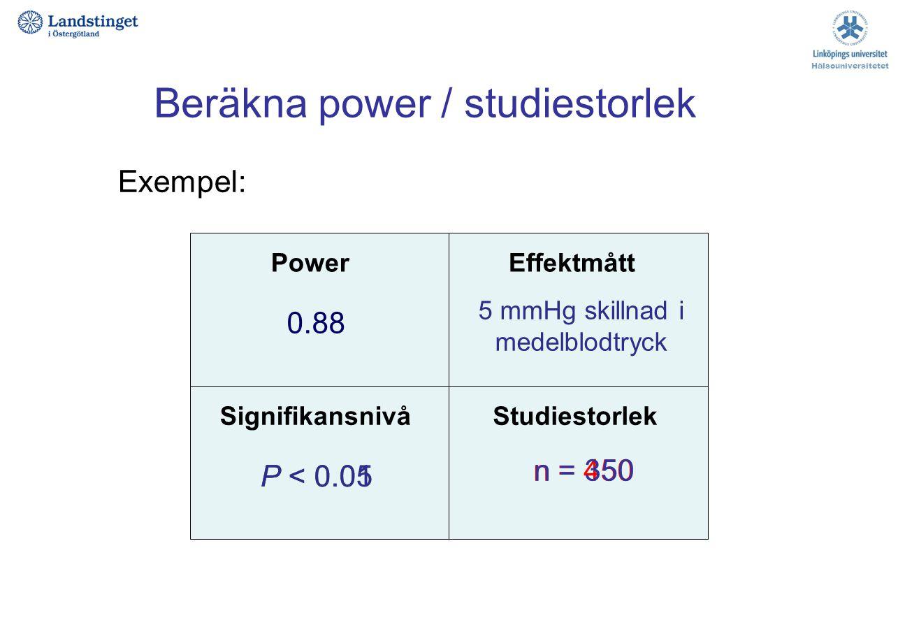 Beräkna power / studiestorlek