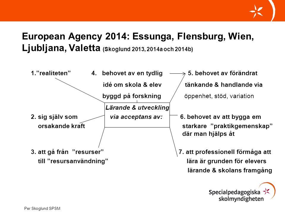 European Agency 2014: Essunga, Flensburg, Wien, Ljubljana, Valetta (Skoglund 2013, 2014a och 2014b)