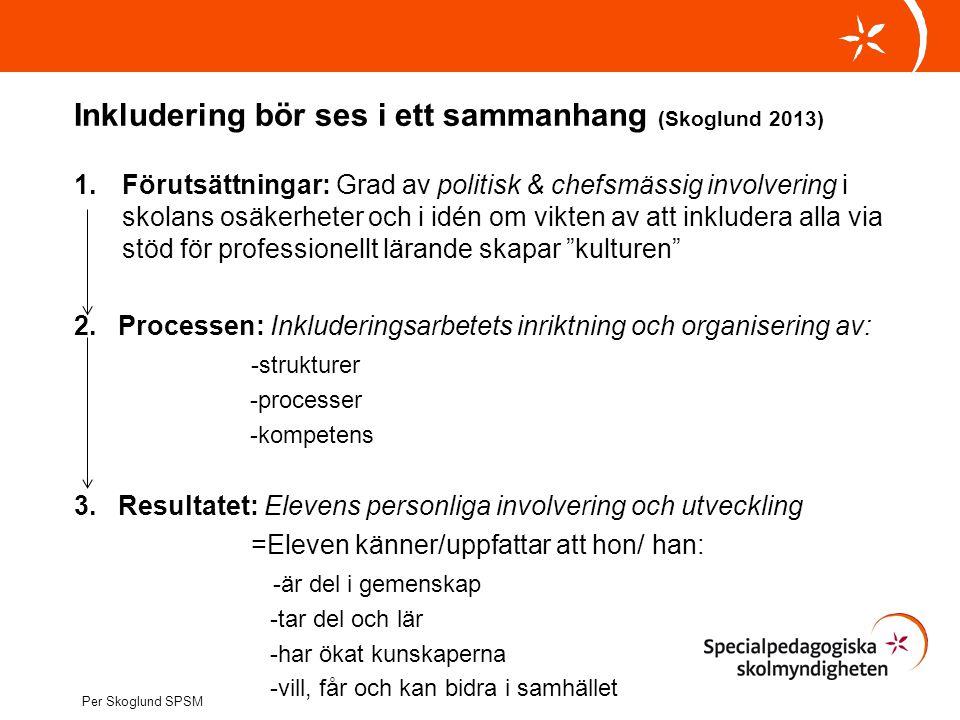 Inkludering bör ses i ett sammanhang (Skoglund 2013)
