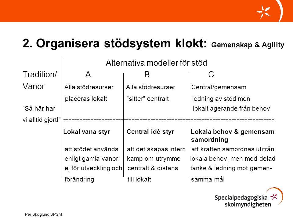 2. Organisera stödsystem klokt: Gemenskap & Agility
