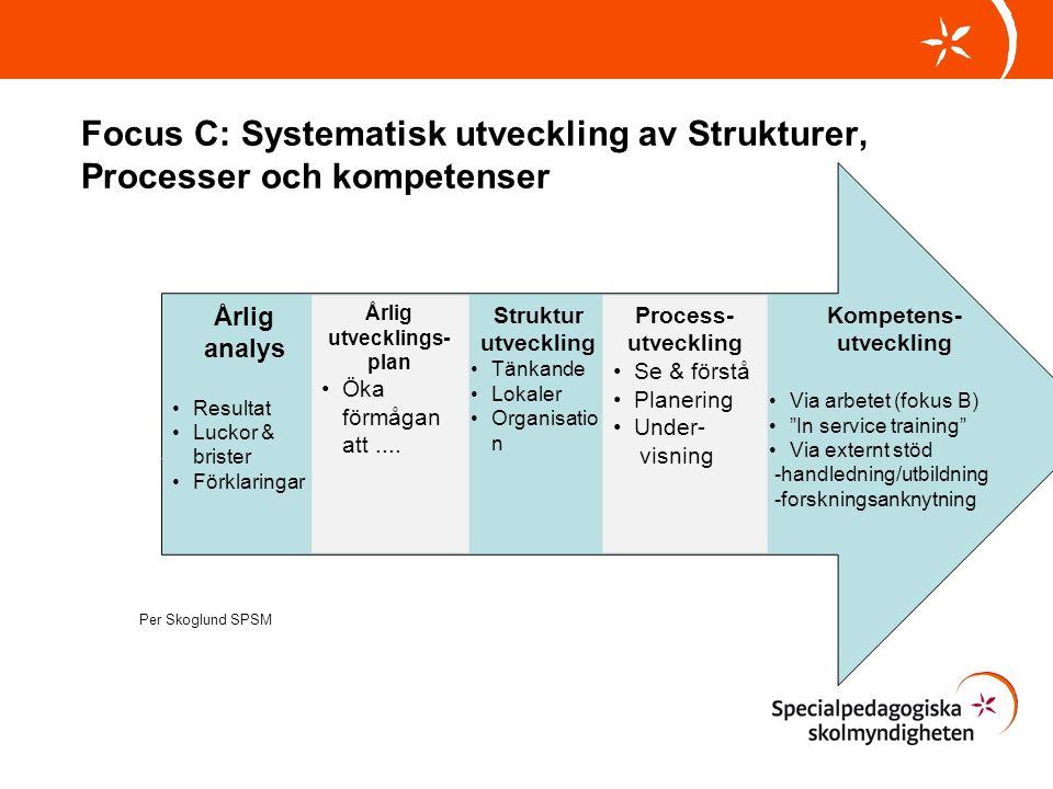 Focus C: Systematisk utveckling av Strukturer, Processer och kompetenser
