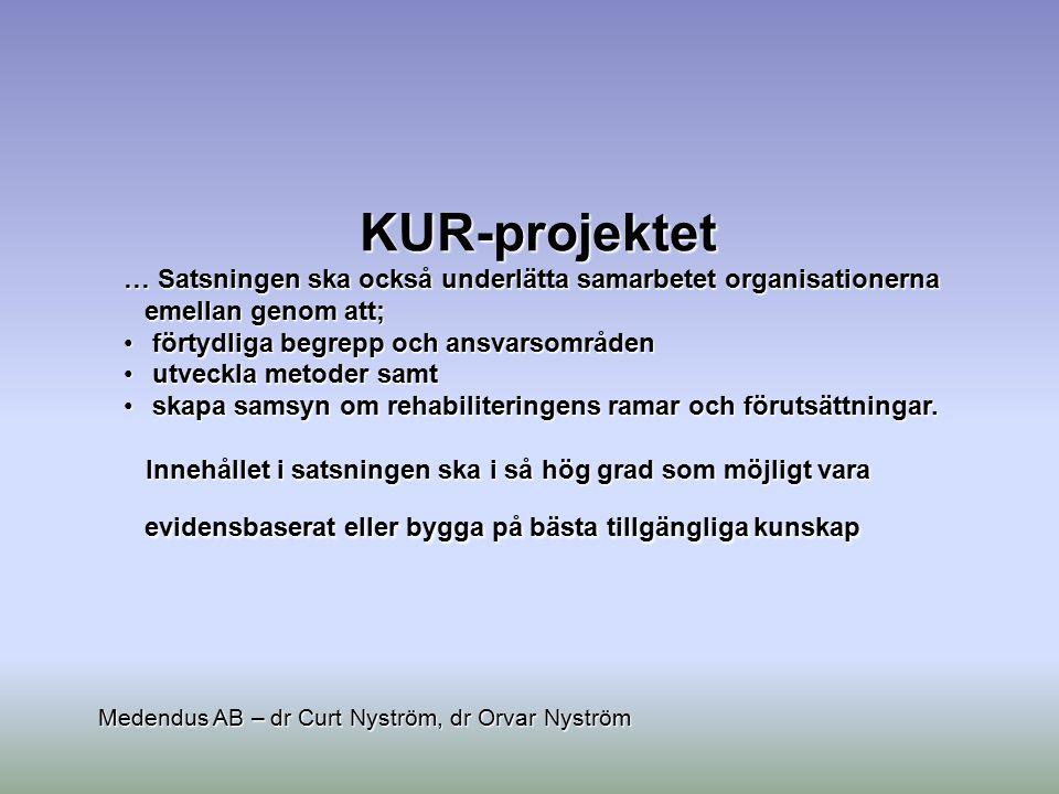 KUR-projektet … Satsningen ska också underlätta samarbetet organisationerna emellan genom att;