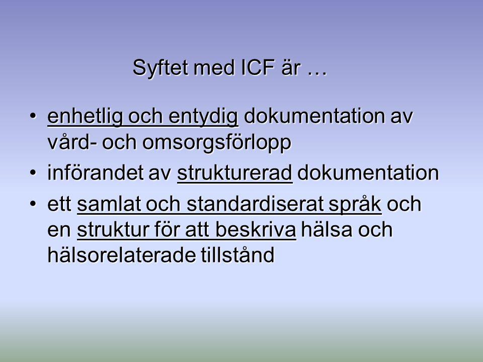 Syftet med ICF är … enhetlig och entydig dokumentation av vård- och omsorgsförlopp. införandet av strukturerad dokumentation.