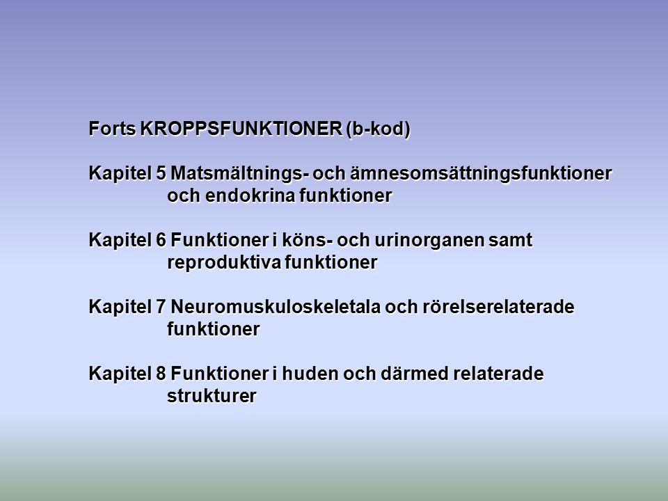 Forts KROPPSFUNKTIONER (b-kod)