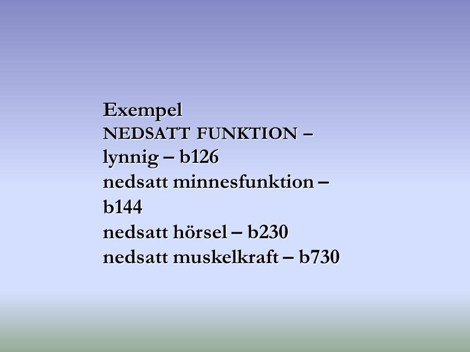 nedsatt minnesfunktion – b144 nedsatt hörsel – b230