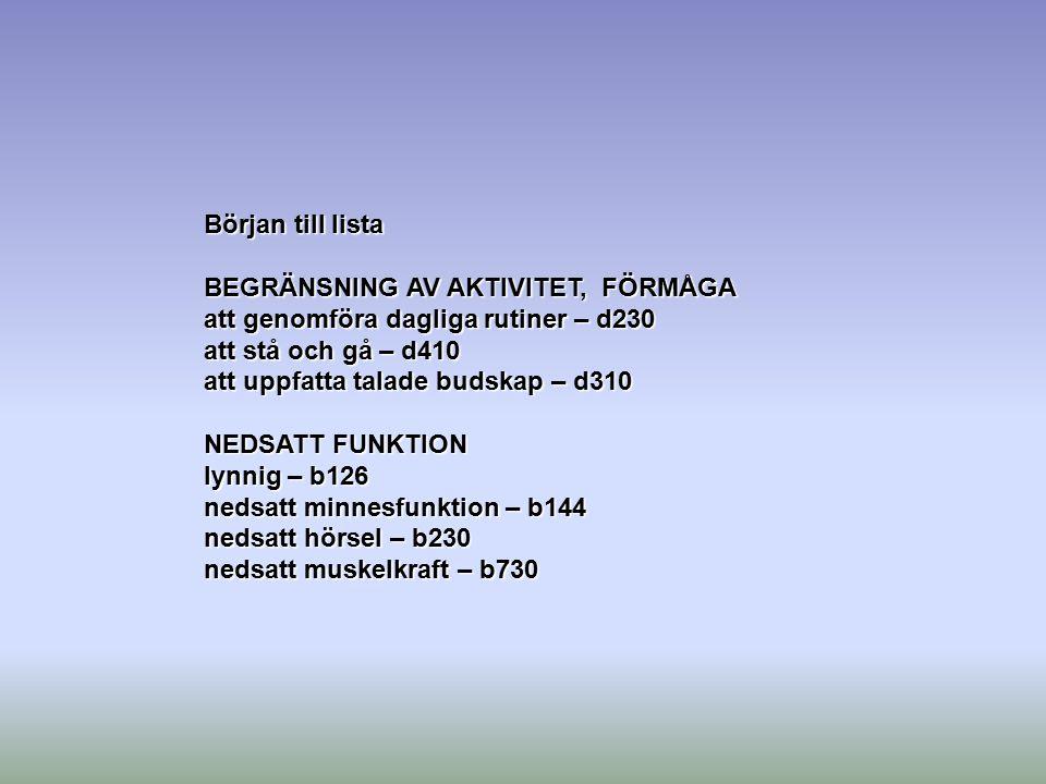 Början till lista BEGRÄNSNING AV AKTIVITET, FÖRMÅGA. att genomföra dagliga rutiner – d230. att stå och gå – d410.