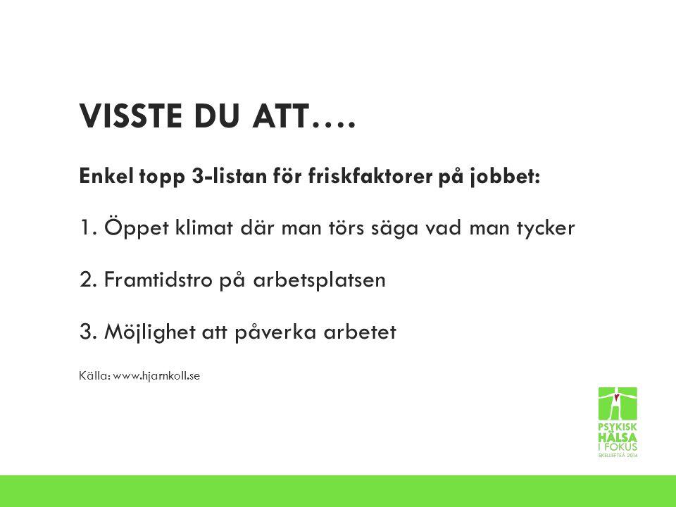VISSTE DU ATT…. Enkel topp 3-listan för friskfaktorer på jobbet: