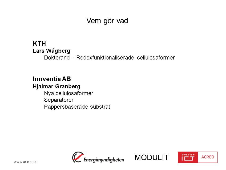 Vem gör vad KTH Innventia AB Lars Wågberg