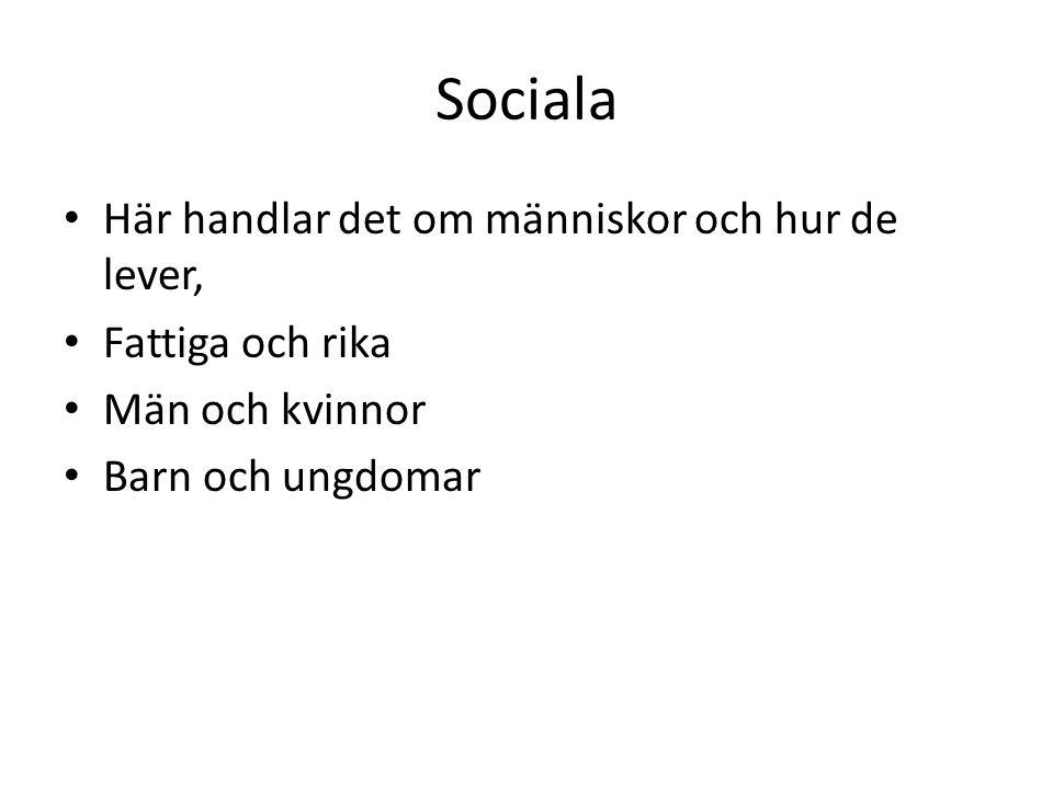 Sociala Här handlar det om människor och hur de lever,