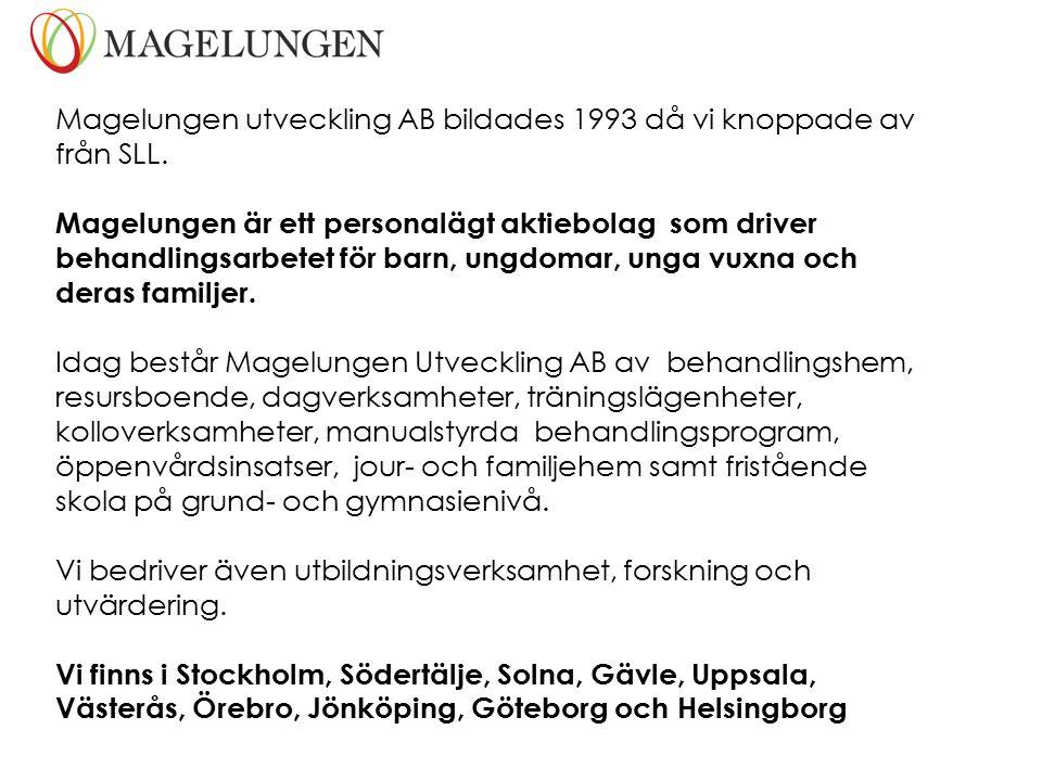 Magelungen utveckling AB bildades 1993 då vi knoppade av från SLL.