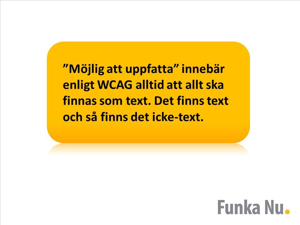 Möjlig att uppfatta innebär enligt WCAG alltid att allt ska finnas som text.