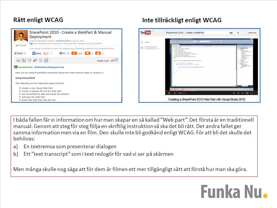 Inte tillräckligt enligt WCAG