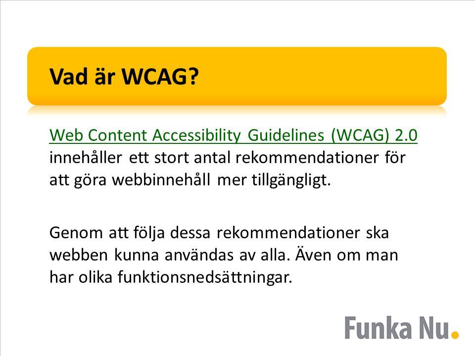 Vad är WCAG Web Content Accessibility Guidelines (WCAG) 2.0 innehåller ett stort antal rekommendationer för att göra webbinnehåll mer tillgängligt.