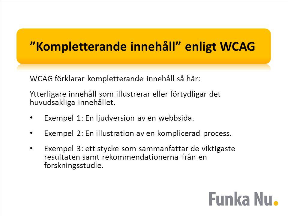 Kompletterande innehåll enligt WCAG