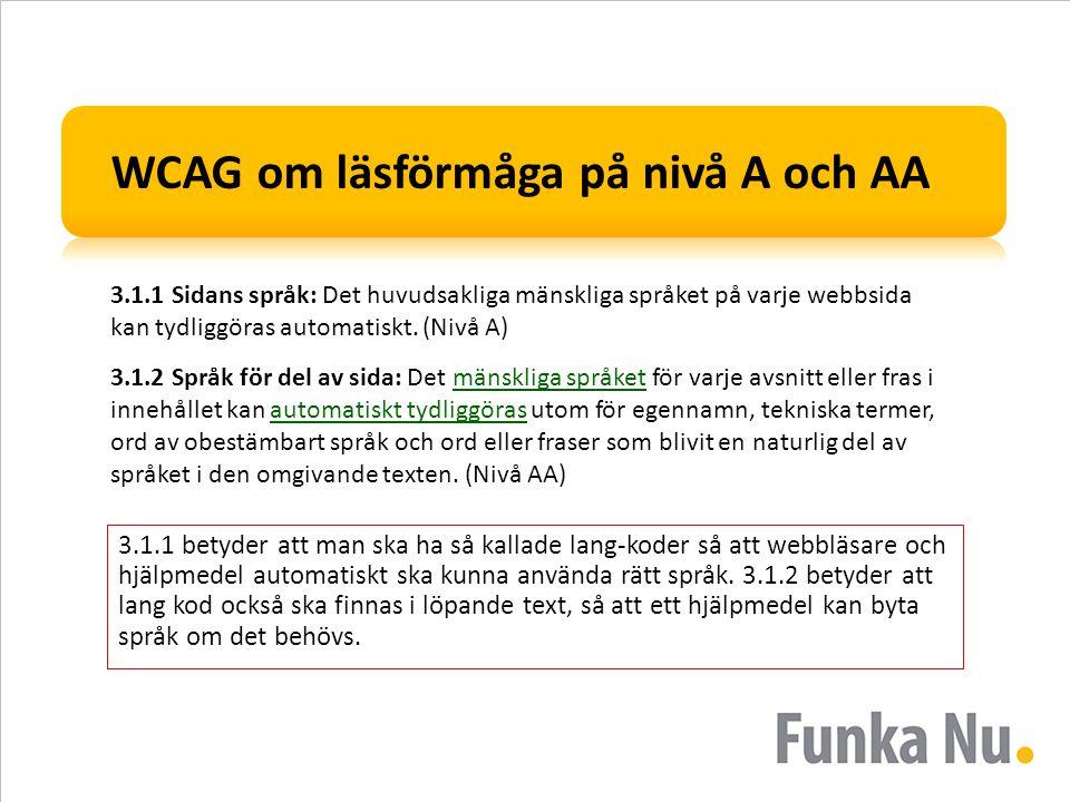 WCAG om läsförmåga på nivå A och AA