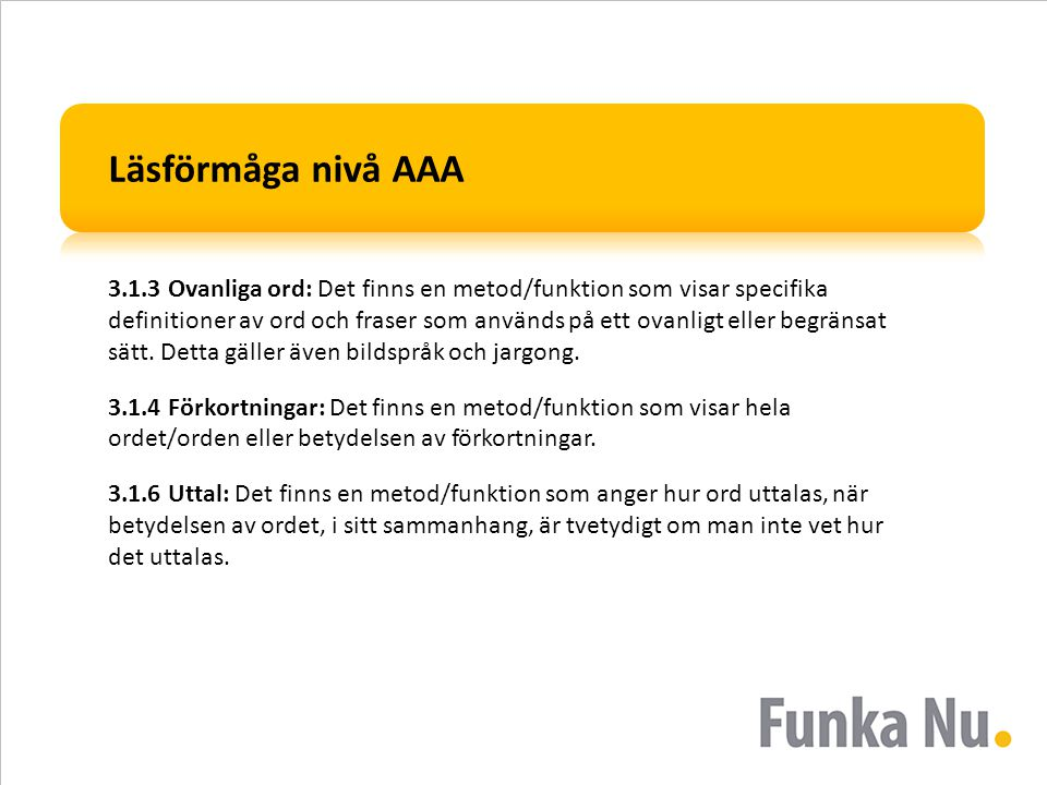 Läsförmåga nivå AAA