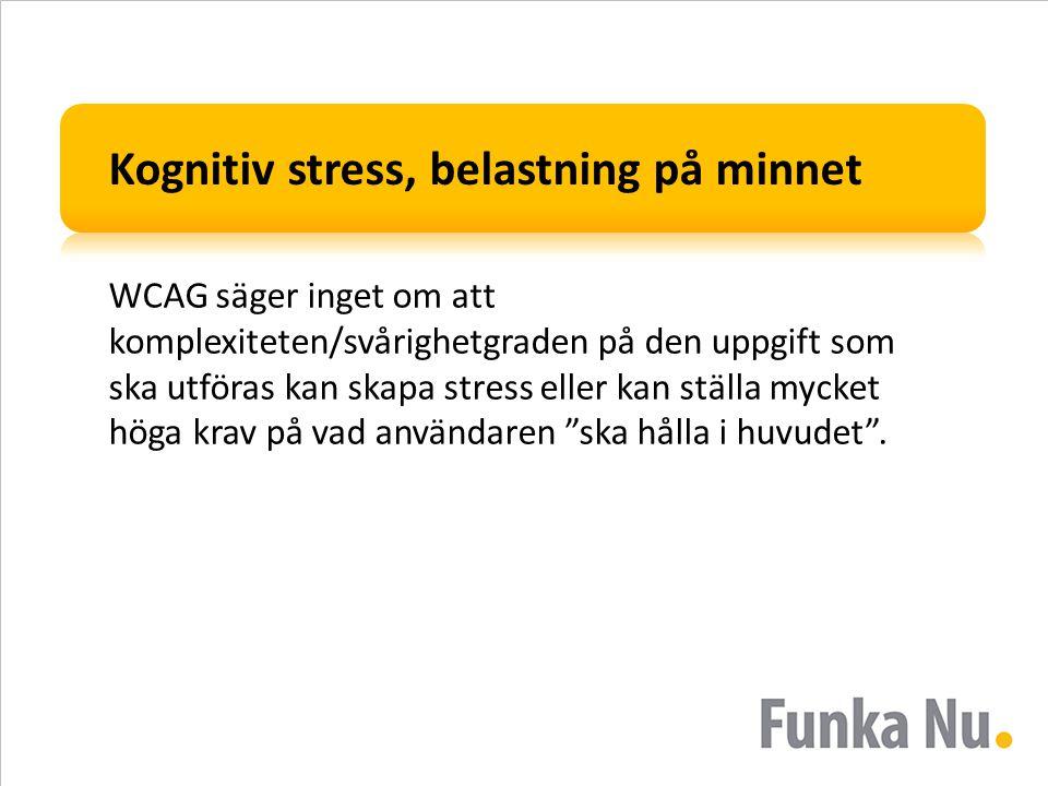 Kognitiv stress, belastning på minnet