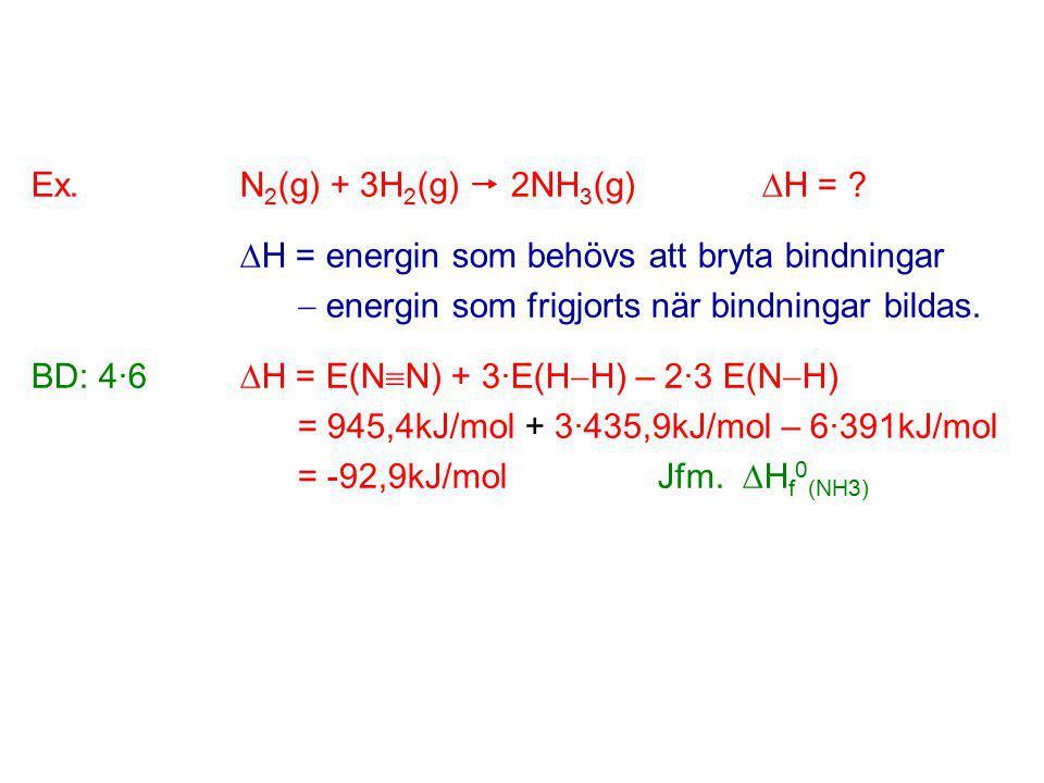 Ex. N2(g) + 3H2(g)  2NH3(g) H =