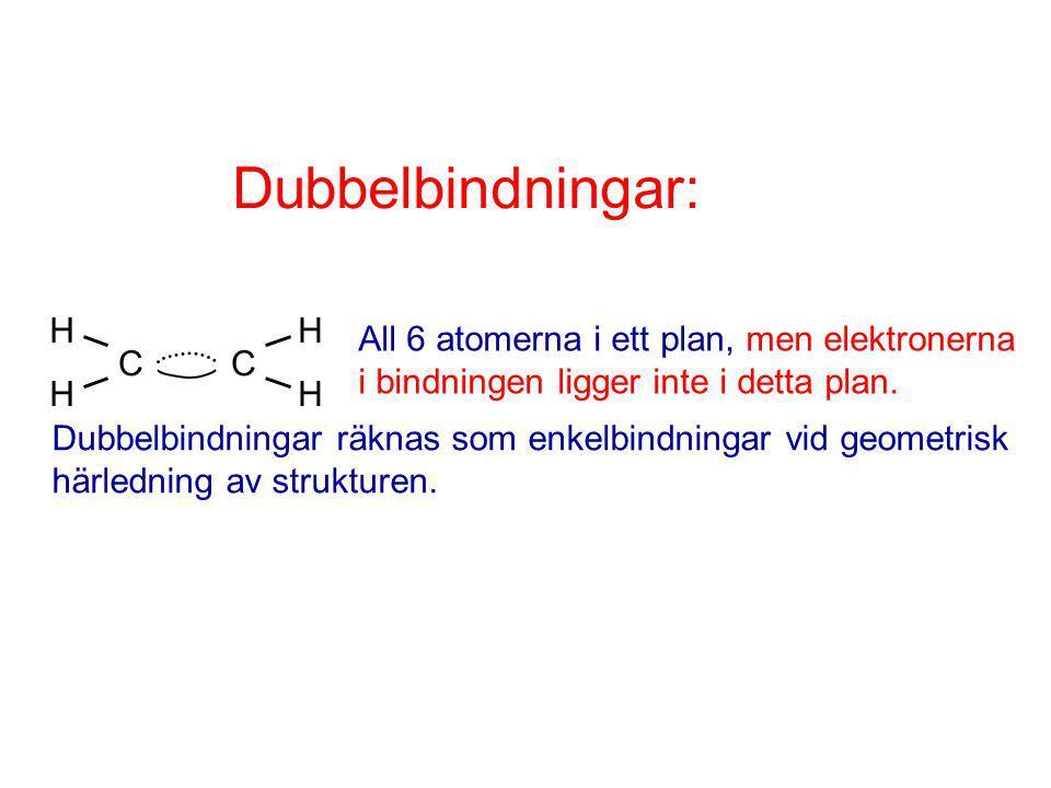 Dubbelbindningar: H. C C. All 6 atomerna i ett plan, men elektronerna i bindningen ligger inte i detta plan.