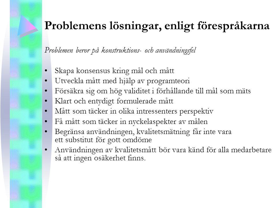 Problemens lösningar, enligt förespråkarna