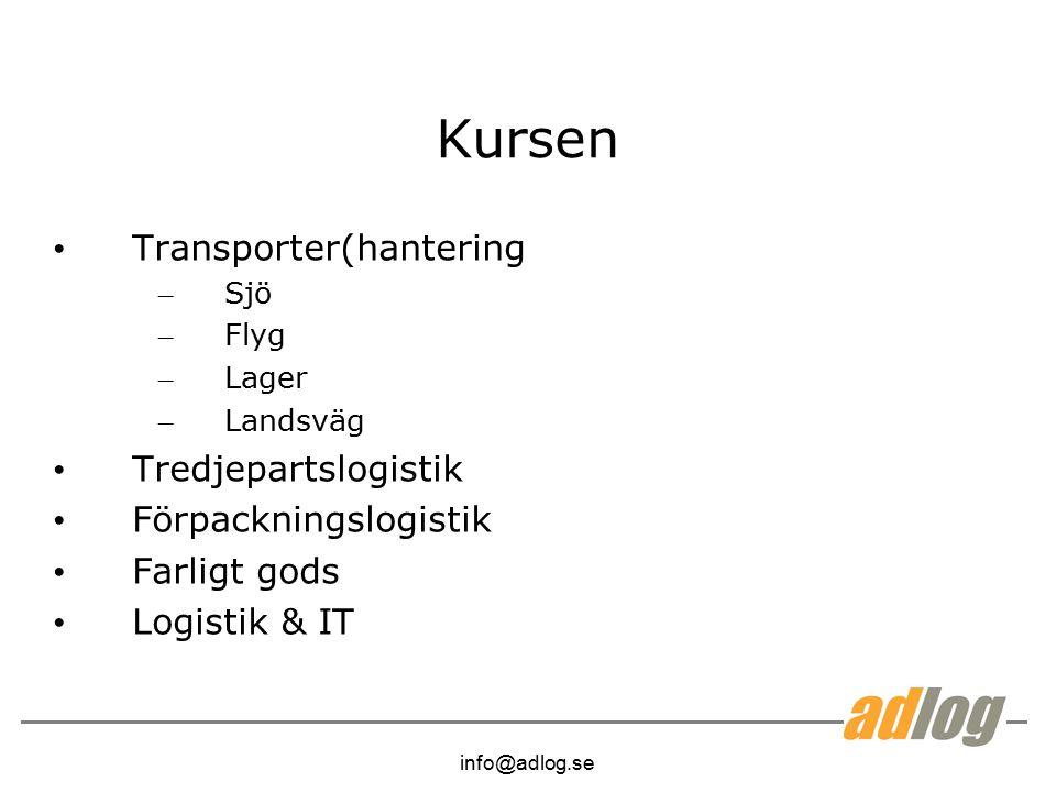 Kursen Transporter(hantering Tredjepartslogistik Förpackningslogistik