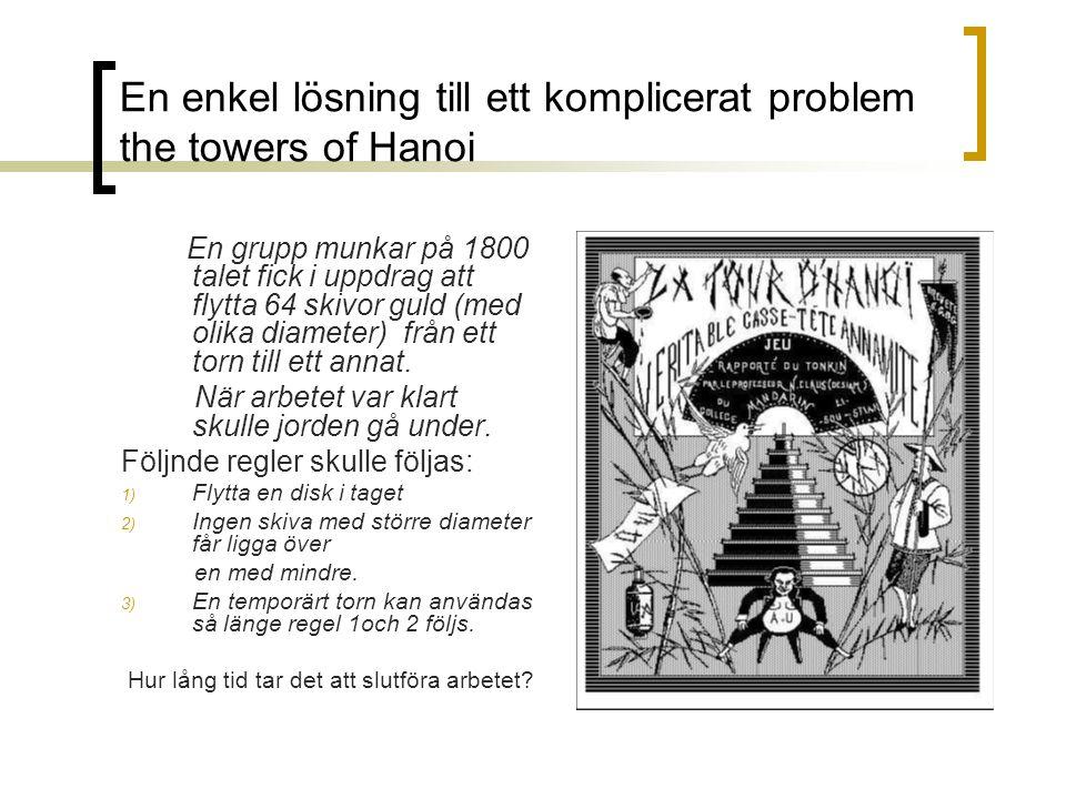 En enkel lösning till ett komplicerat problem the towers of Hanoi