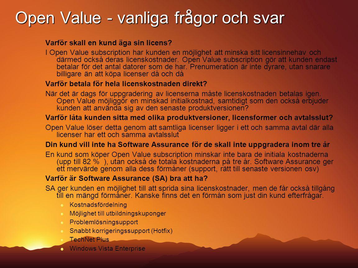 Open Value - vanliga frågor och svar