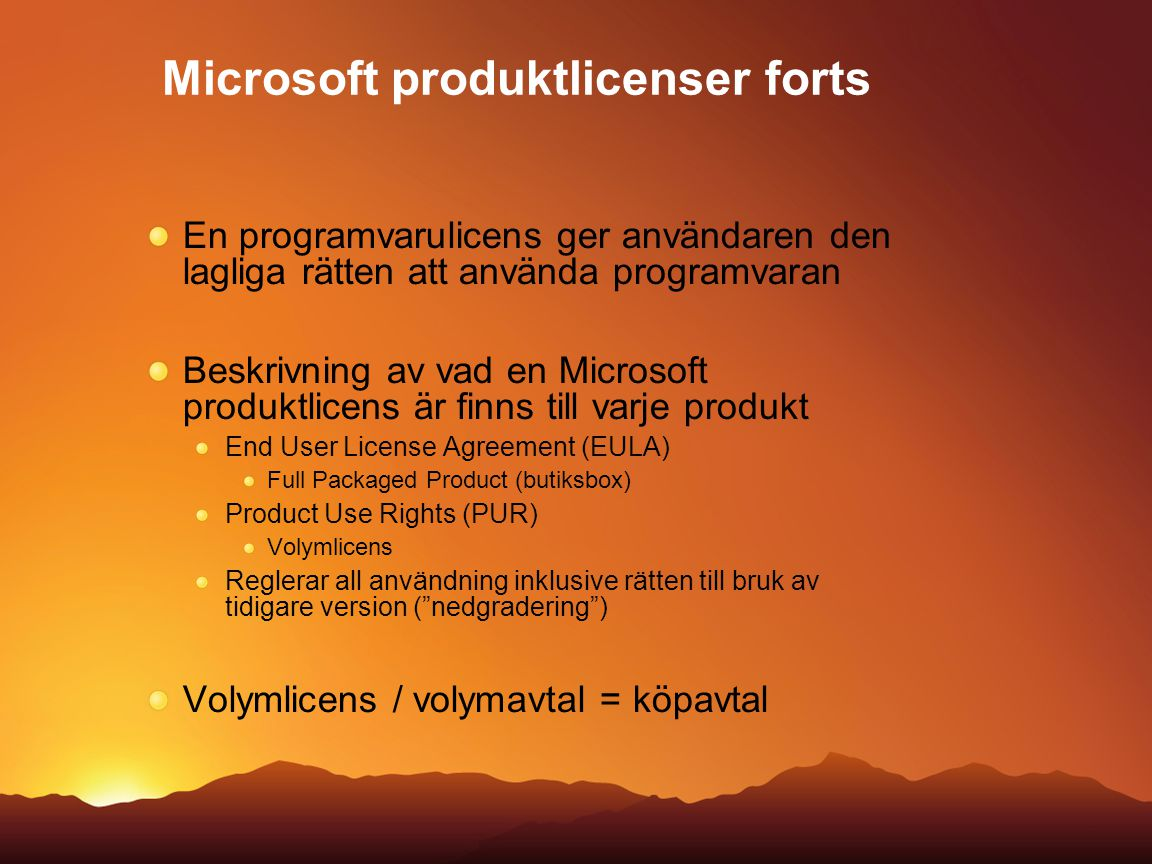 Microsoft produktlicenser forts