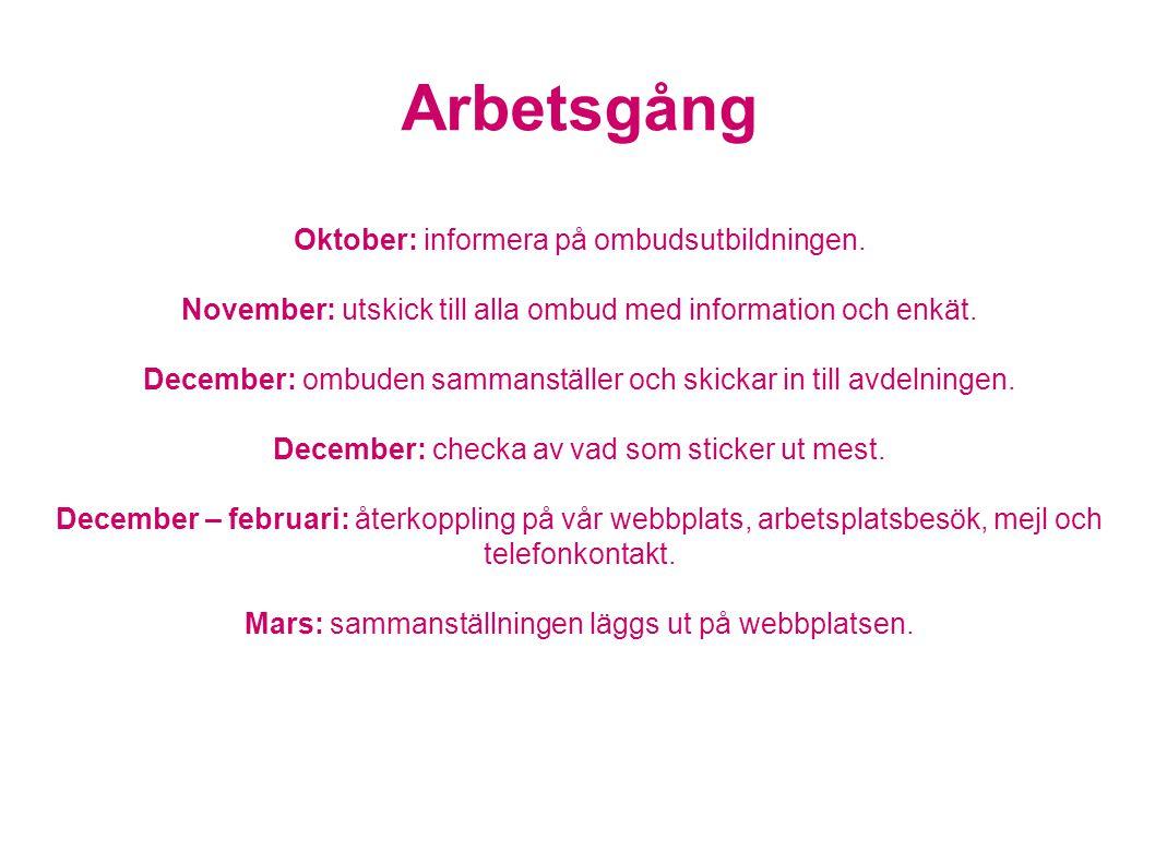 Arbetsgång Oktober: informera på ombudsutbildningen.